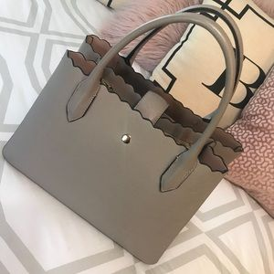 H&M Taupe Scalloped Edge Structured Satchel